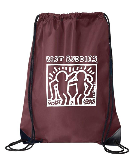 White Haring Drawstring Backpack (Maroon)