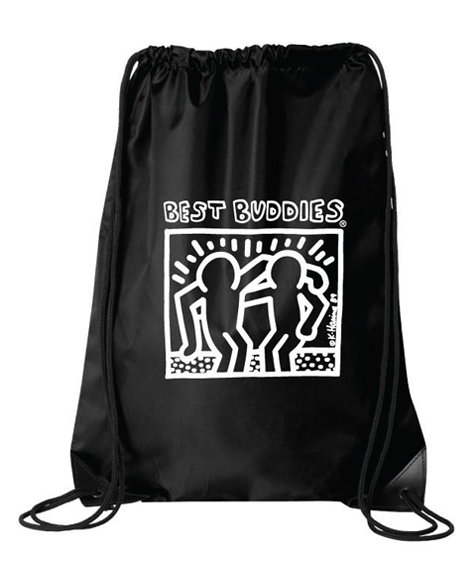 White Haring Drawstring Backpack (Black)