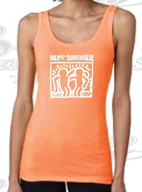 White Haring Ladies Tank Top (Neon Orange)