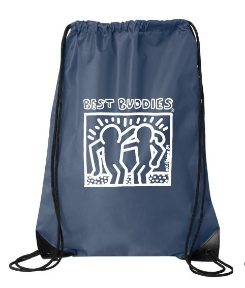 White Haring Drawstring Backpack (Navy Blue)