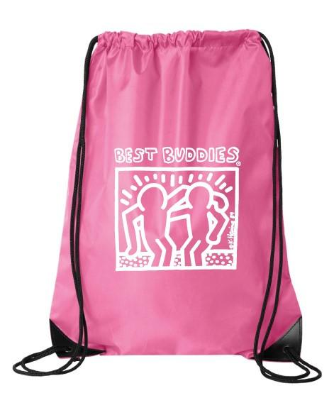 White Haring Drawstring Backpack (HOT Pink)
