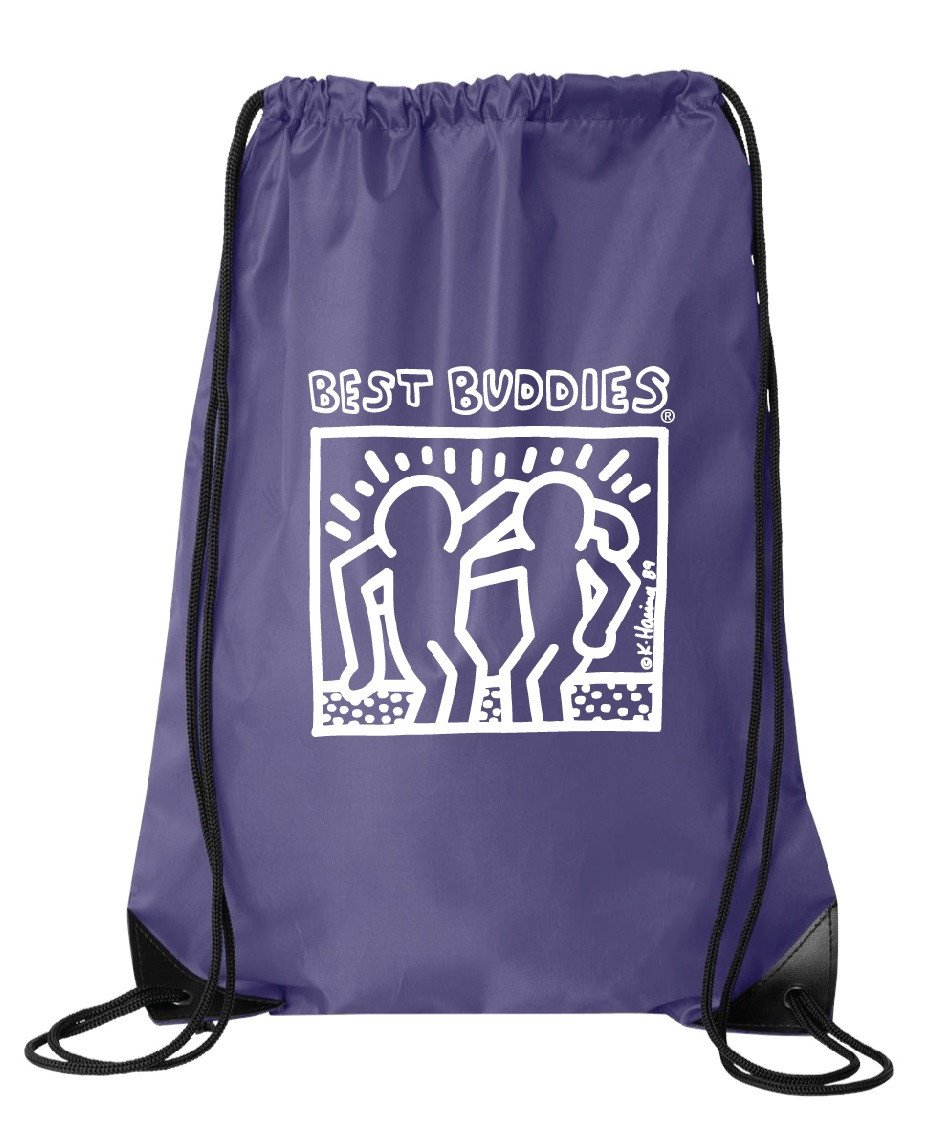 White Haring Drawstring Backpack (Purple)