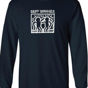 YOUTH -  Long Sleeve White Haring Logo Tee (Navy)