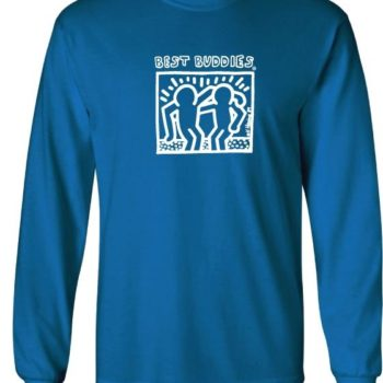 YOUTH -  Long Sleeve White Haring Logo Tee (Sapphire)