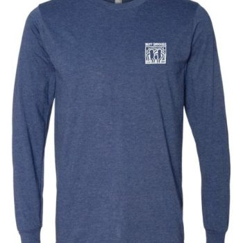 Long Sleeve White Haring Logo Tee (Heather Blue)