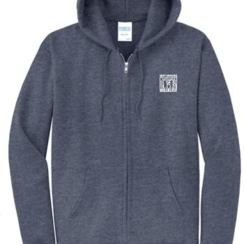 Full-Zip White Haring Hoodie (Heather Navy)